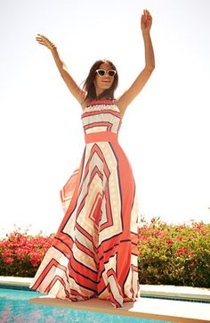coral striped maxi dress #UNIQUE_WOMENS_FASHION