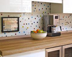 9 Awesome Mosaic Tile Ideas For Kitchen or Bathroom: Kitchen Backsplash: Colorful Retro-Styled Mosaic Tile Kitchen Wall Tiles, Ceramic Wall Tiles, Glass Mosaic Tiles, Kitchen Mosaic, Kitchen Floor, Kitchen Redo, Beadboard Backsplash, Herringbone Backsplash, Backsplash Arabesque