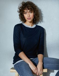 Double Layer Crew Neck T-Shirt with Wool The White Company, Clothes For Sale, Neck T Shirt, Wool Blend, Lounge Wear, Knitwear, Tees, Shirts, Layers