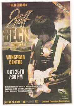 Jeff Beck  at the Winspear Centre Oct.25th,2011