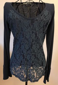 Womens MAURICES Navy Blue Waffle Knit Long Sleeve Shirt Large L Lace Front Tee #Maurices #KnitTop
