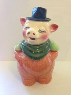 Rare Vintage Shawnee Smiley Pig Antique Collectible Vintage Cookie Jar / Bank by DecoSisters on Etsy https://www.etsy.com/listing/223914059/rare-vintage-shawnee-smiley-pig-antique