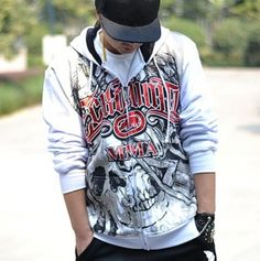 Mens hip hop hoodies skull graffiti hooded sweatshirt for rapper