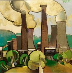 "Geoffrey Key 'Power Station with Trees' 2009 24"" x 24"" Oil on Canvas in Private Collection"