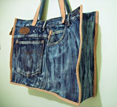 Mochila Jeans, Love Jeans, Tote Bags, Purses And Bags, Denim Shorts, Quilting, Collection, Fashion, Denim Bag