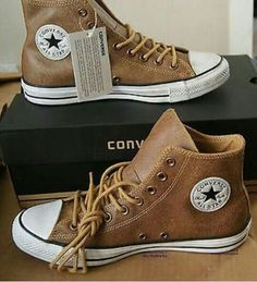 Guys have all the cute sneakers New Authentic Converse All Star Chuck Taylor Vintage Leather Hi top Converse Chuck Taylor, Converse All Star, Brown Converse, Brown Sneakers, Me Too Shoes, Men's Shoes, Shoe Boots, Leather Converse Shoes, Converse Shoes High Top