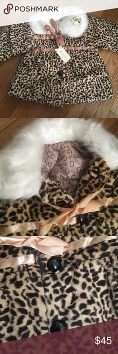Faux fur leopard print coat Gorgeous dress coat for you baby girl! These are very soft and have the white trim around the collar.  They lie with a good bow and also have the black big buttons.  These are so great for fall and winter! These will sale out fast!! Jackets & Coats Pea Coats