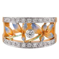 Masriera Plique a Jour Enamel Diamond Gold Ring | From a unique collection of vintage fashion-rings at https://www.1stdibs.com/jewelry/rings/fashion-rings/