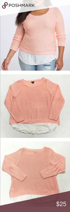 Torrid Reverse Stitch Twofer Knit Sweater Torrid Size 1X Reverse Stitch Twofer Cropped Sweater Peach Coral Knit Pullover. Gently used with no flaws. torrid Sweaters Crew & Scoop Necks