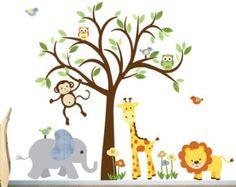 Safari Wall Decal Nursery Wall Decal Jungle door StickItDecalDesigns