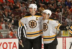 My two favorite players of the Boston Bruins (Chara, Bergeron)