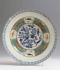 Dish  Germany, Meissen. Circa 1730-1735 Porcelain; underglaze and overglaze painting, with gilding. Diam. 38.6 cm  The State Hermitage Museum