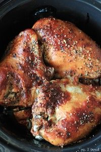 Slow Cooker BBQ Chicken - No. 2 Pencil. Use sugar substitute and Walden Farms BBQ sauce to make it South Beach Diet friendly