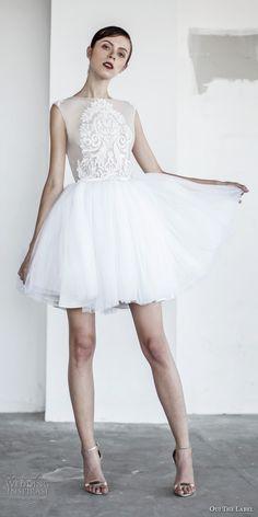 oui the label 2017 bridal sleeveless bateau neck sheer heavily embellished bodice tulle skirt above knee short wedding dress sheer back (5) mv -- OUI The Label 2017 Wedding Dresses #shortweddingdress #shortwhitedress