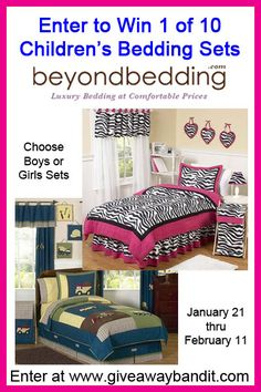 Beyond Bedding 10 Kids Bedding Sets GiveawayI want to win a children's set from http://beyondbedding.com