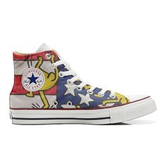 Scarpe Converse All Star personalizzate (Prodotto Artigianale) bandiera danze Usa - TG36 - http://on-line-kaufen.de/make-your-shoes/36-eu-converse-all-star-personalisierte-schuhe-97