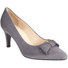 Peter Kaiser Valona Bow Pointed Toe Court Shoes , Grey featuring polyvore women's fashion shoes pumps grey leather slip-on shoes high heel stilettos grey leather pumps leather shoes pointed toe pumps