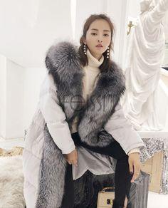 Real Fur Coat & Jacket | Real Fur Coat & Jacket | Hooded Silver Fox Fur Trimmed Down-filled Wintercoat Long Parka | 0024 | Fur Shop Online Long Fur Coat, Long Parka, Steampunk Clothing, Gothic Steampunk, Victorian Gothic, Steampunk Fashion, Gothic Lolita, Mod Fashion, Sporty Fashion