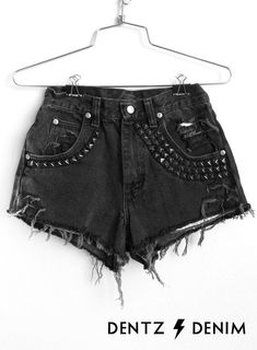 High Waisted Black Denim Shorts - Black Highly Studded - Black Jean Shorts - Plus thru Petite Size by DentzDenim slouchy sweater off the shoulder Studded Shorts, Ripped Shorts, Black Jean Shorts, Black Denim Jeans, Short Outfits, Outfits For Teens, Plane Outfit, Plus Zise, Diy Shorts