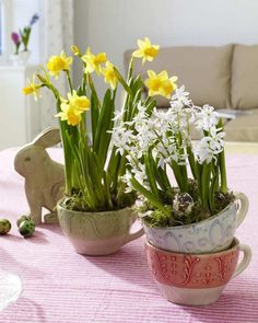 Can not read a word of this site but the Easter table dressings are so pretty!