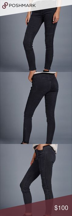Free People - Midnight Magic Moto Jean Moto mid-rise skinny jean in an authentic stretch with Sean detailing along the front and back. Zipper accents at the hem and front. Five-pocket style with a button closure and zip fly. NWOT, size 25, black. Free People Jeans Skinny