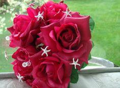 Beautiful...but with blue/white flowers...Starfish  Beach Wedding Accessories  Beach theme wedding  Bouquet Jewelry