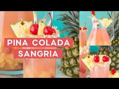 Easy 5 ingredient tropical pina colada sangria is a refreshing summer beverage! This boozy sangria punch makes enough to serve a crowd. Add fresh garnishes to elevate this adult beverage into something you'd be served at an ocean side resort! Fruity Drinks, Summer Drinks, Fun Drinks, Alcoholic Drinks, Alcohol Drink Recipes, Sangria Recipes, Bachelorette Party Drinks, Pineapple Rum, Sangria Punch