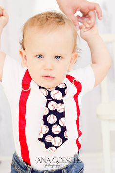 """Baseball Tie Onesie with red suspenders NB- 24M- Baby Boy Clothing """"Take me out to the Ball game"""". $26.99, via Etsy."""