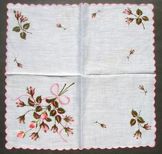Vintage Hanky Embroidered and Printed Roses Handkerchief  --  Currently Available for purchase on eCRATER.com