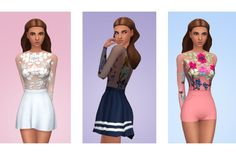"""lucassims: """"Rory BodysuitI made this out of the stunning dress from City Living. I really like it! Looks amazing with high-wasted skirts, shorts and pants. • Base Game compatible. • 16 swatches. •..."""