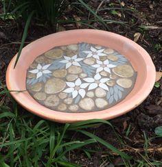 Mosaic Bird bath  a lovely flannel flower by RebeccaNaylorMosaics
