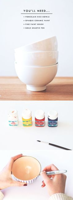 Personnaliser des bols en porcelaine avec de la peinture