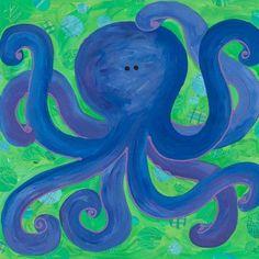 Oopsy Daisy Indigo Octopus Canvas Art for sale online Ocean Canvas, Nursery Canvas, Kids Canvas, Canvas Wall Art, Canvas Ideas, Canvas Paintings, Nursery Art, Nursery Ideas, Baby Wall Art