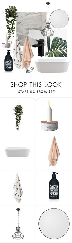"""bathroom: blush, forest green & marble"" by littlemissapple1 ❤ liked on Polyvore featuring interior, interiors, interior design, home, home decor, interior decorating, Nearly Natural, Menu, La Compagnie de Provence and Home Decorators Collection"