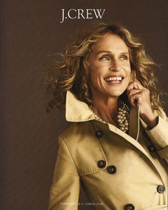 Lauren Hutton for J Crew! J Crew Style, My Style, J Crew Catalog, Catalog Cover, Lauren Hutton, Ageless Beauty, Aging Gracefully, Role Models, Style Guides