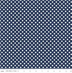 10 Yards in Stock - Riley Blake - Small White Dots - Small Dots Navy by Riley Blake Designs - 100% Cotton