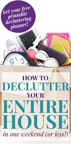 Feeling overwhelmed? These decluttering ideas will show you exactly how to declutter your entire house in one weekend! How's that for super fast decluttering? Use the free decluttering planner to simplify your home and start going clutter free today!   decorbytheseashore.com