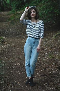H Striped Top, Topshop Mom Jeans, New Look Cutout Boots, H Chain Necklace, Primark Sunglasses