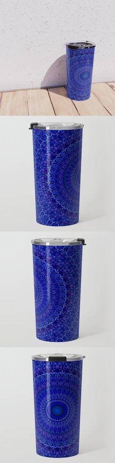 Blue Psychedelic Floral Mandala Travel Mug by David Zydd #BestTravelMugs #MandalaTravelMug #Decor #GiftDesign #Mandala #FloralDesign #Mandalas #Equipment #BohemianDecoration (tags: graphic design, ornamental, artist, bohemian, psychedelic, graphic, blossom, designer, bloom, floral design, mandala, mantra, mandala decor, relaxation, mandala tableware, pattern, meditation, gift)