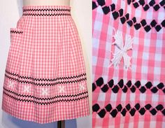 Vintage Hostess Apron // PINK GINGHAM // Rick Rack by BexVintage, I have some originals that belonged to Grandmom Chicken Scratch Embroidery, Cute Aprons, Sewing Aprons, Aprons Vintage, Pink Gingham, Diy Embroidery, Smocking, Needlework, Sewing Patterns