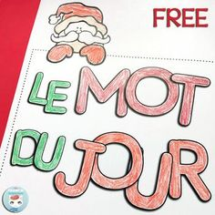 French Christmas Worksheets | LE MOT DU JOUR: FREE printable worksheets for your students to practice French vocabulary related to the hoildays #frenchImmersion #teacherspayteachers #corefrench #motdujour #teachingfrench #forfrenchimmersion #noël French Days, Core French, French Stuff, Teaching French, Teaching Writing, Free Printable Worksheets, Free Printables, Christmas Worksheets, Christmas Activities