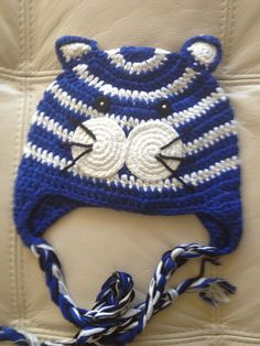 Crochet Handmade animal hats tiger cute and great bright blue colors stripe cute $18.00