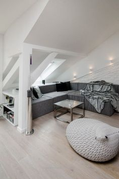 Marvelous gorgeous grey living room at a renovated attic apartment in Prague by OOOOX The post gorgeous grey living room at a renovated attic apartment in Prague by OOOOX… appeared first on B ..