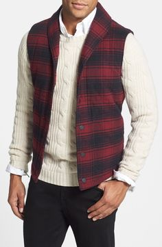 Handsome plaid puffer vest.