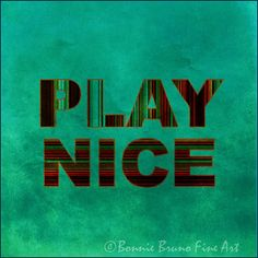 Typogaphical Art 12x12 Print Play Nice  by bbrunophotography