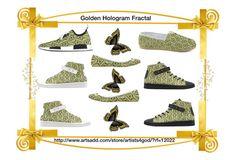 """""""My """"Golden Hologram Fractal"""" Designer Footwear"""" by artist4god-rose-santuci-sofranko ❤ liked on Polyvore"""