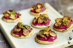 50 quick and easy canapes Beetroot blinis with garlicky mushrooms goodtoknow Canapes Gourmet, Vegetarian Canapes, Easy Canapes, Canapes Recipes, Vegetarian Recipes, Cooking Recipes, Gourmet Desserts, Plated Desserts, Christmas Canapes