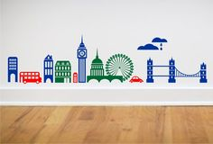 London Skyline wall decal Big Ben London Bridge Ferris Wheel Double Decker bus and more LARGE SIZE. $49.00, via Etsy.