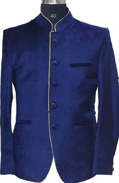 Blue Cotton Velvet Blazer
