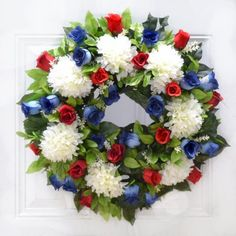 Patriotic - Red White & Blue - 4th of July Summer Door Wreath - Memeorial -Veteran Silk Floral  If you want to Show your patirotic spirit or honor a loved one, this is the perfect wreath. Also fine for outdoor use as a memorial wreath. Created in the USA of silk roses, mums and ficus foliage measures 24""